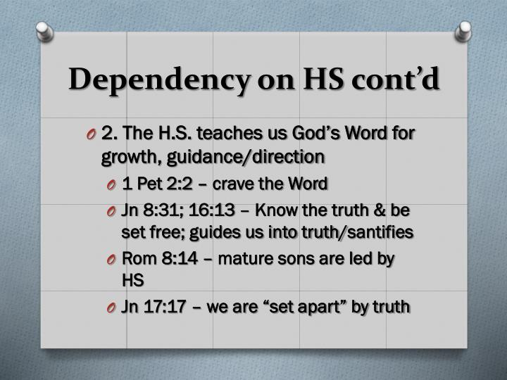 Dependency on HS cont'd
