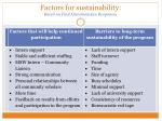 factors for sustainability based on final questionnaire responses