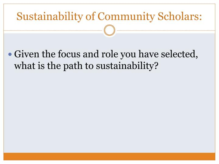 Sustainability of Community Scholars: