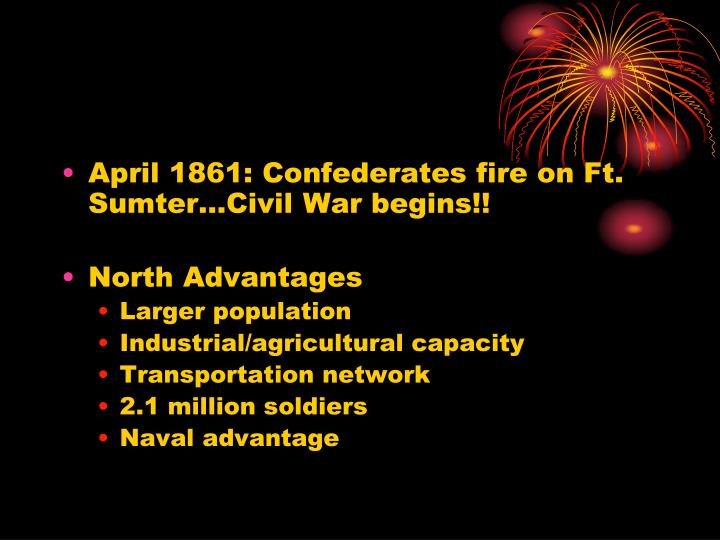 April 1861: Confederates fire on Ft. Sumter…Civil War begins!!