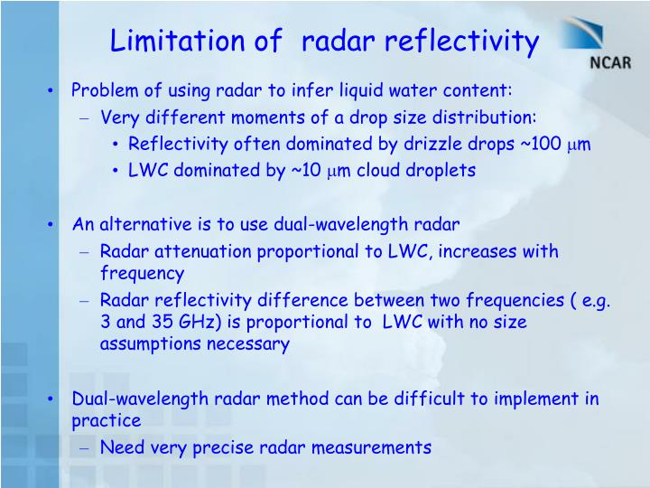 Limitation of  radar reflectivity