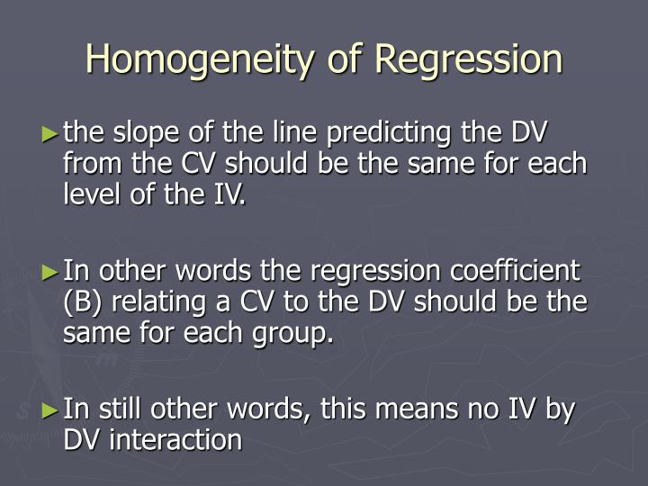 Homogeneity of Regression