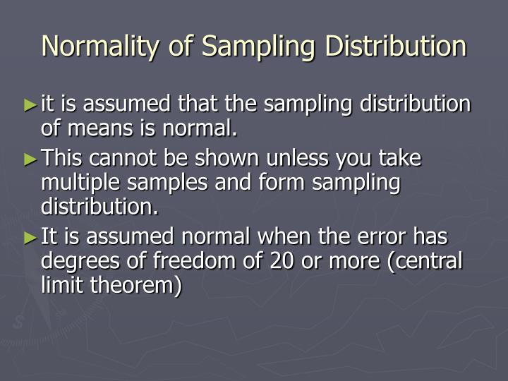 Normality of Sampling Distribution