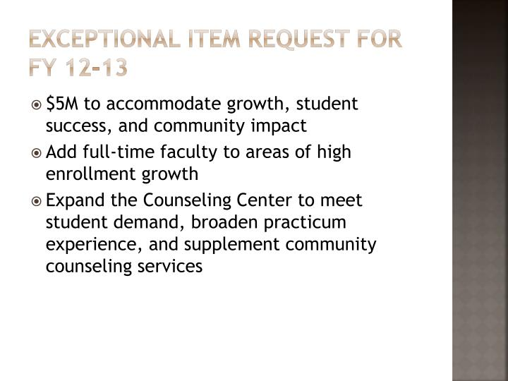 Exceptional Item request for FY 12-13