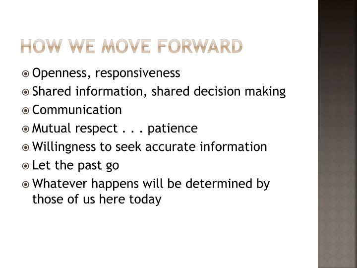 How we move forward