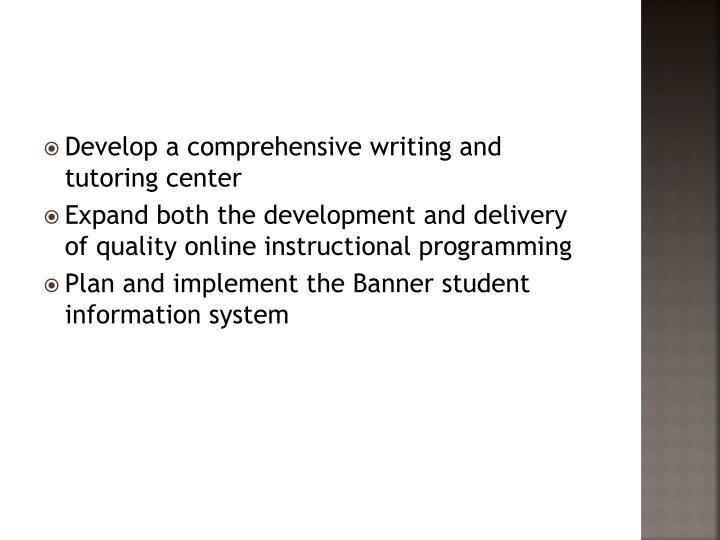 Develop a comprehensive writing and tutoring center