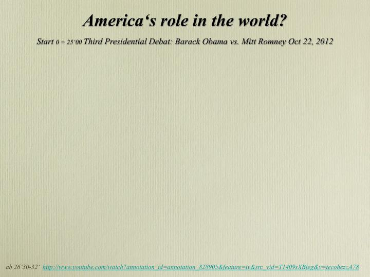 America's role in the world?