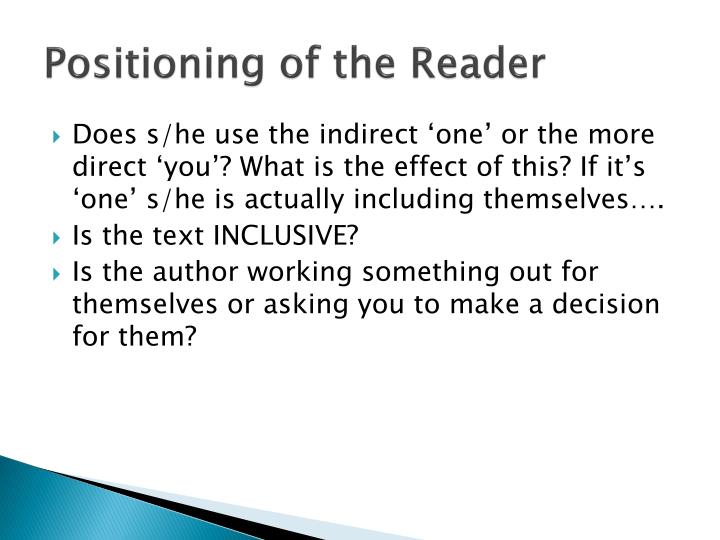 Positioning of the Reader