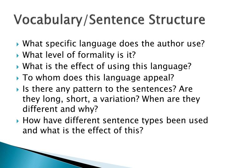 Vocabulary/Sentence Structure