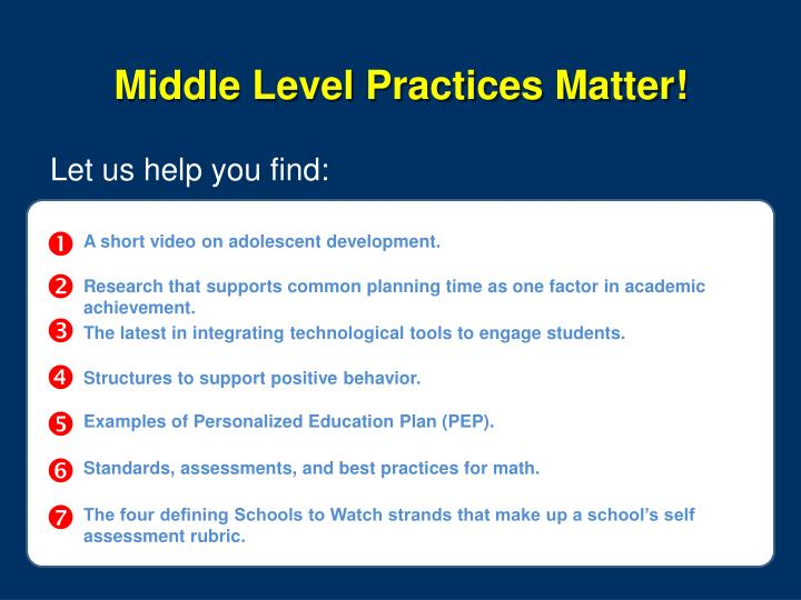 Middle Level Practices Matter!