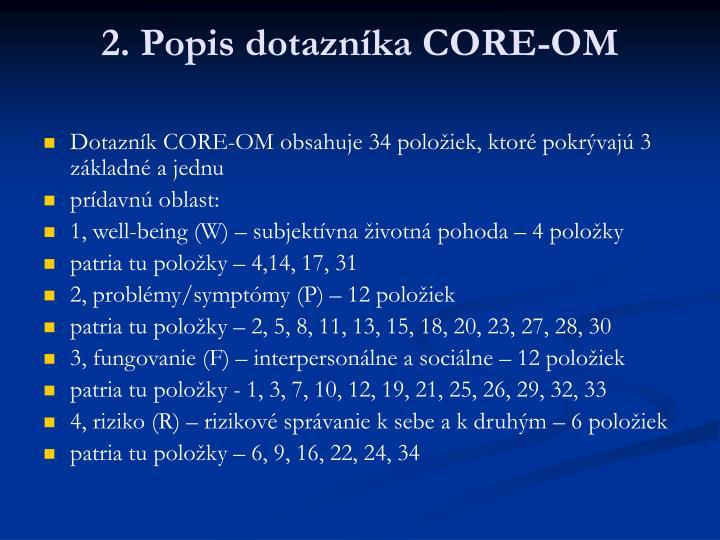 2. Popis dotazníka CORE-OM