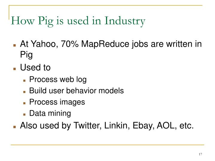 How Pig is used in Industry