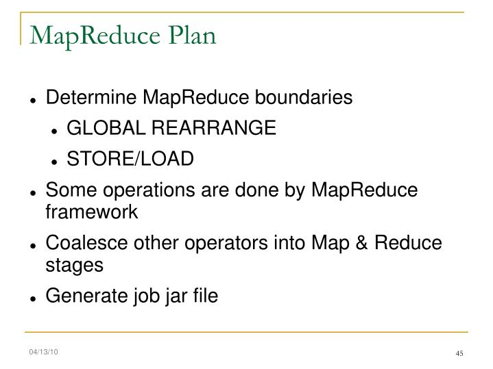 MapReduce Plan