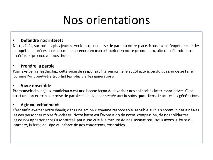 Nos orientations