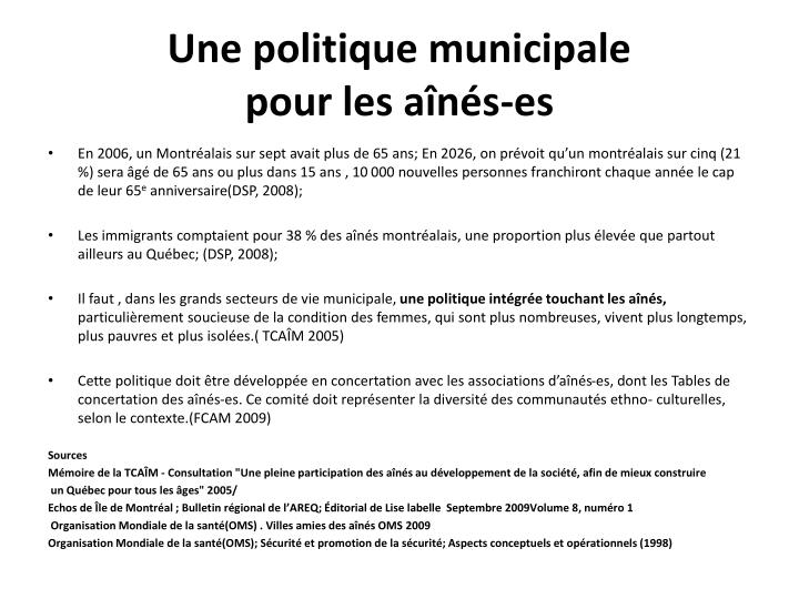 Une politique municipale