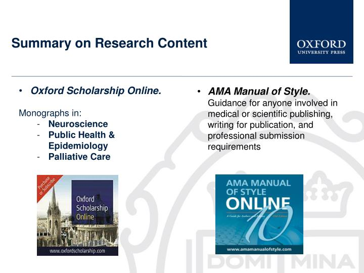 Summary on Research Content