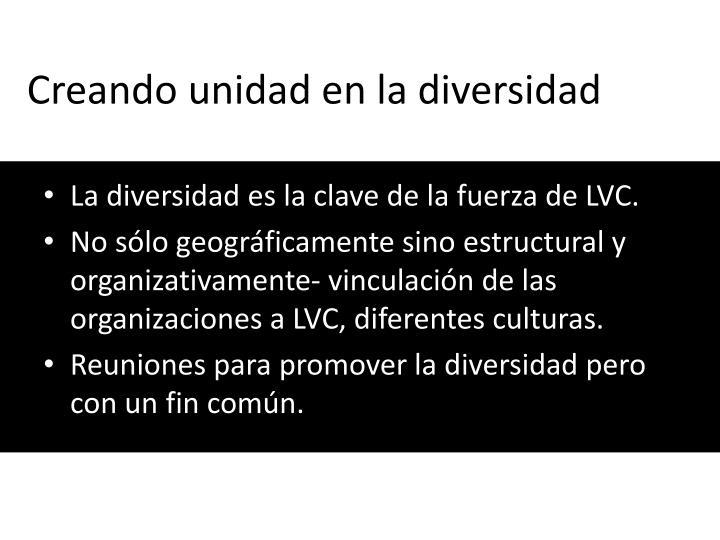Creando unidad en la diversidad