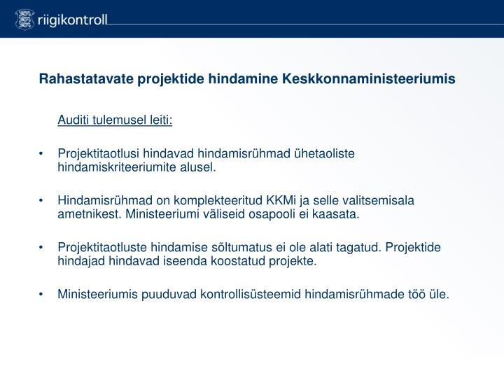 Rahastatavate projektide hindamine Keskkonnaministeeriumis