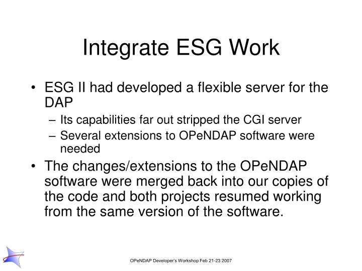 Integrate ESG Work