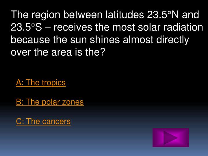 The region between latitudes 23.5°N and 23.5°S – receives the most solar radiation because the sun shines almost directly over the area is the?