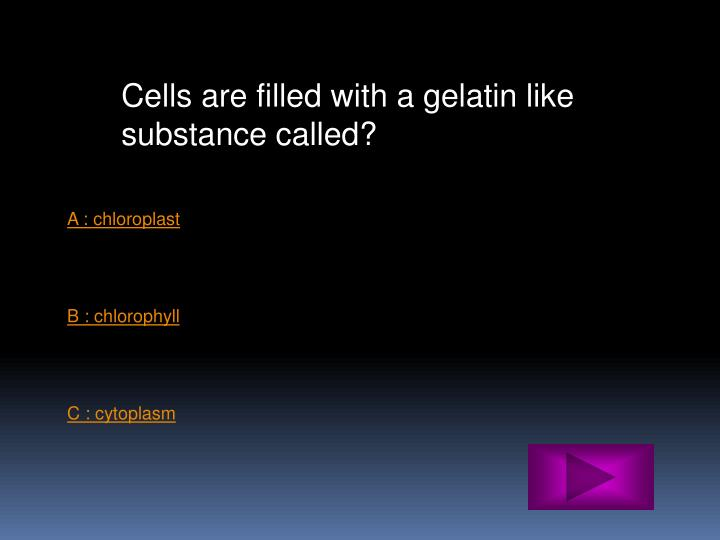 Cells are filled with a gelatin like substance called?