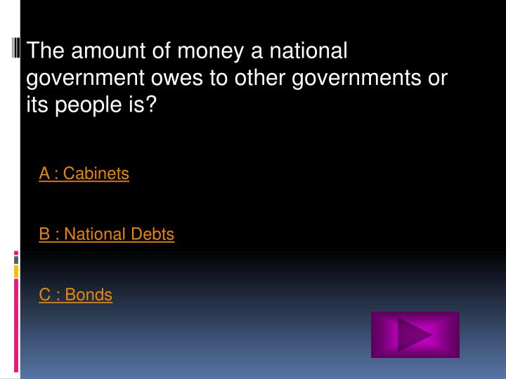 The amount of money a national government owes to other governments or its people is?