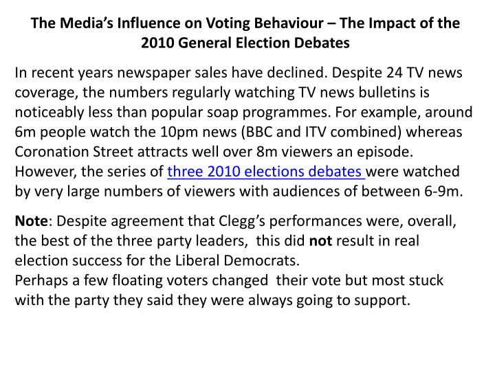 influences on voting behaviour essay How polls influence behavior although the focus of the research was on how polls effect voting on policy questions, the results, says malhotra.