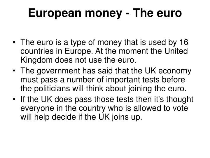 European money - The euro