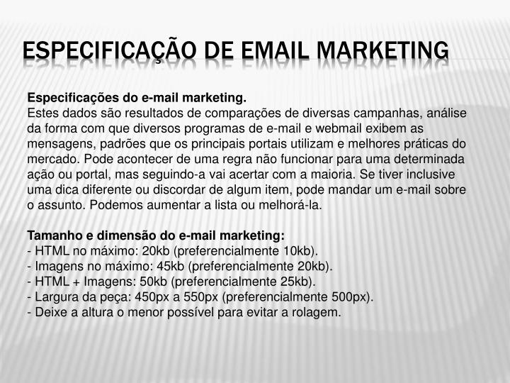 Especificação de email marketing