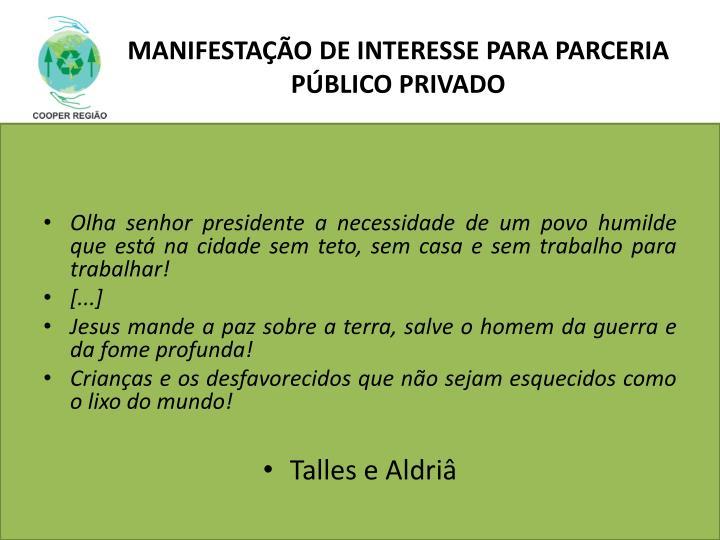 MANIFESTAÇÃO DE INTERESSE PARA