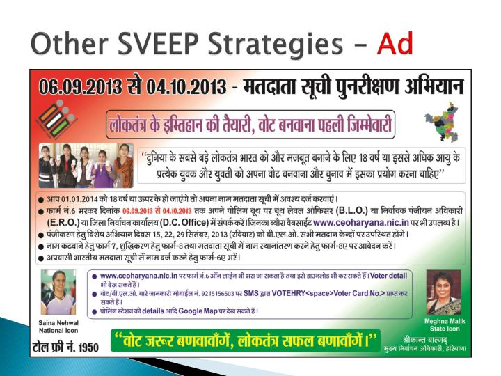 Other SVEEP Strategies –