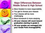 major differences between middle school high school
