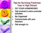 tips for surviving freshman year in high school