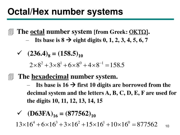 Octal/Hex number systems