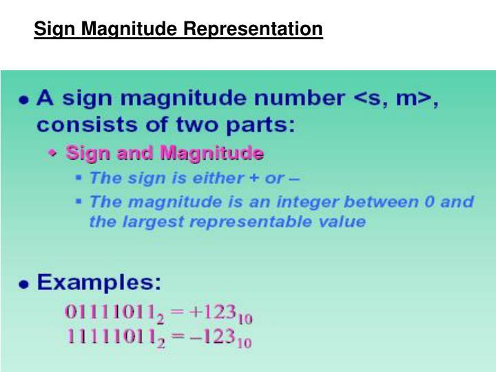 Sign Magnitude Representation