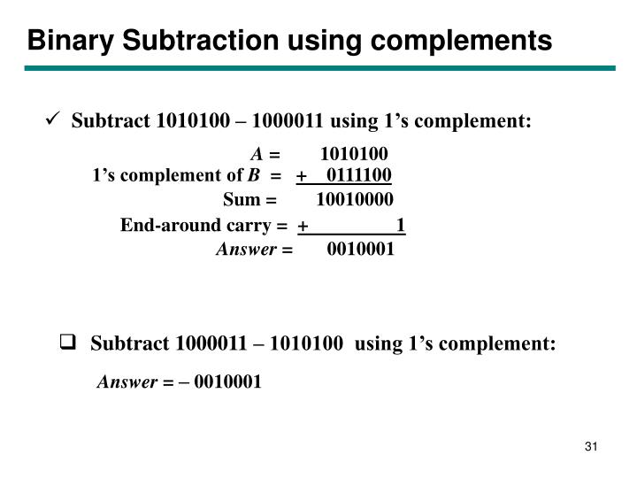 Binary Subtraction using complements
