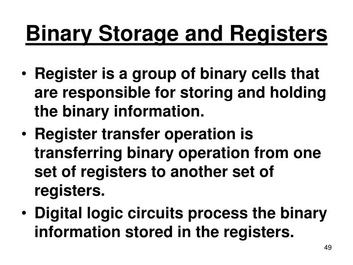 Binary Storage and Registers