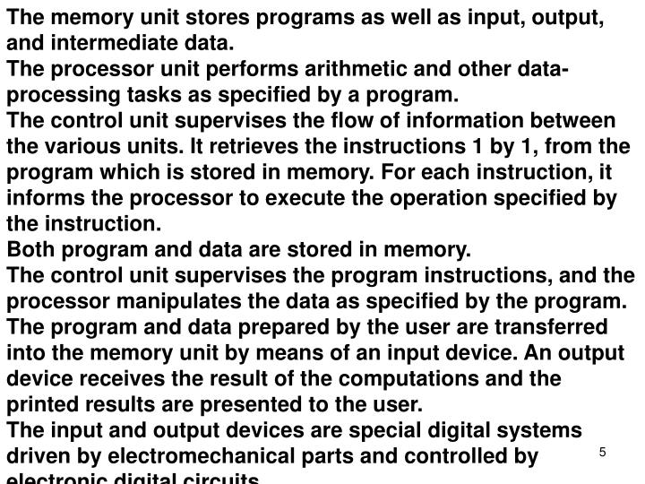 The memory unit stores programs as well as input, output, and intermediate data.