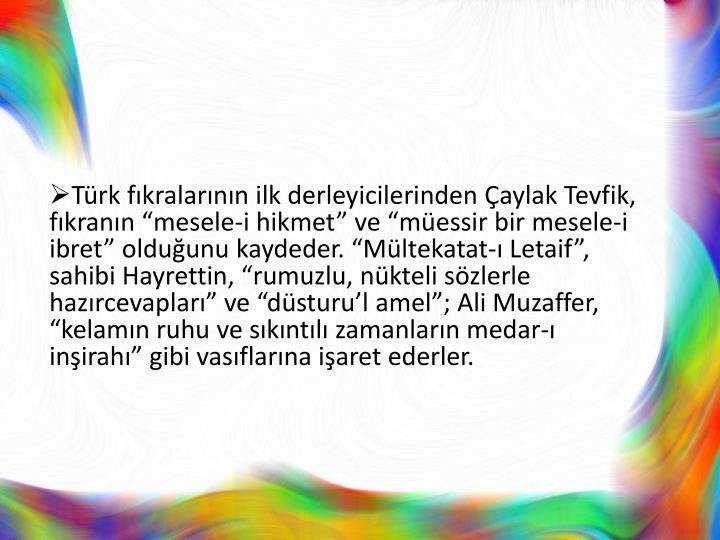"""Türk fıkralarının ilk derleyicilerinden Çaylak Tevfik, fıkranın """"mesele-i hikmet"""" ve """"müessir bir mesele-i ibret"""" olduğunu kaydeder. """"Mültekatat-ı Letaif"""", sahibi Hayrettin, """"rumuzlu, nükteli sözlerle hazırcevapları"""" ve """"düsturu'l amel""""; Ali Muzaffer, """"kelamın ruhu ve sıkıntılı zamanların medar-ı inşirahı"""" gibi vasıflarına işaret ederler."""