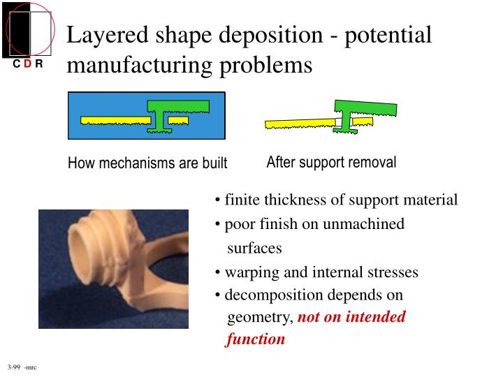 Layered shape deposition - potential manufacturing problems