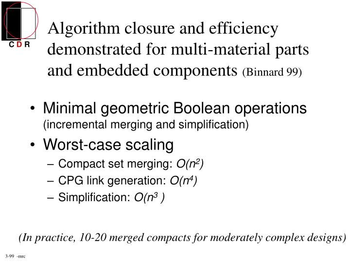 Algorithm closure and efficiency demonstrated for multi-material parts and embedded components