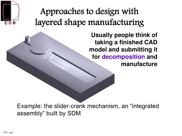 Approaches to design with layered shape manufacturing
