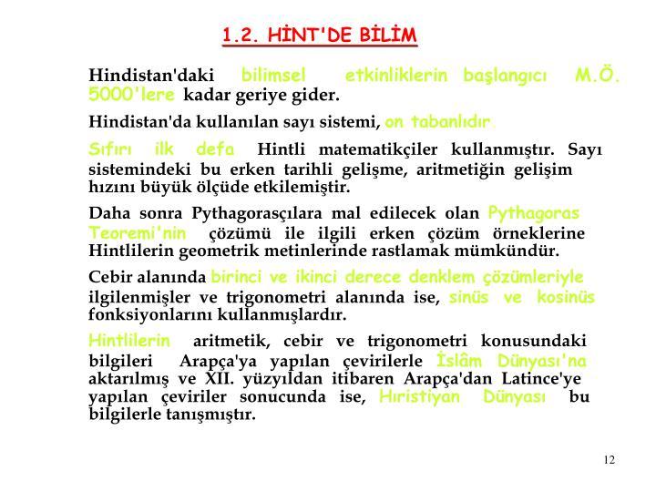 1.2. HİNT'DE BİLİM