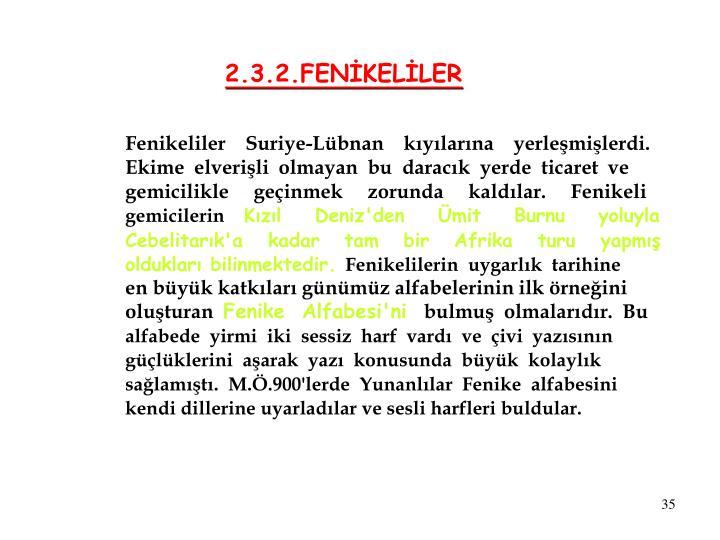 2.3.2.FENİKELİLER