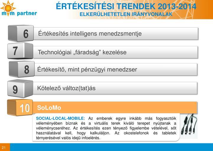 ÉRTÉKESÍTÉSI TRENDEK 2013-2014