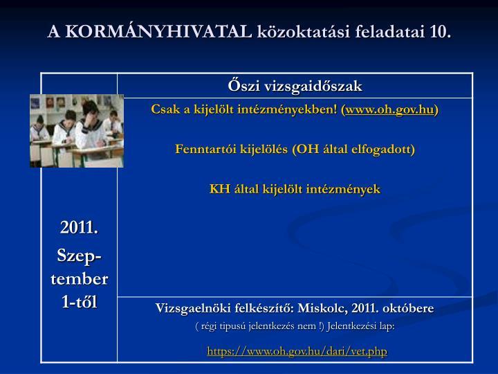 A KORMÁNYHIVATAL közoktatási feladatai 10.