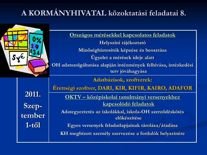 A KORMÁNYHIVATAL közoktatási feladatai 8.