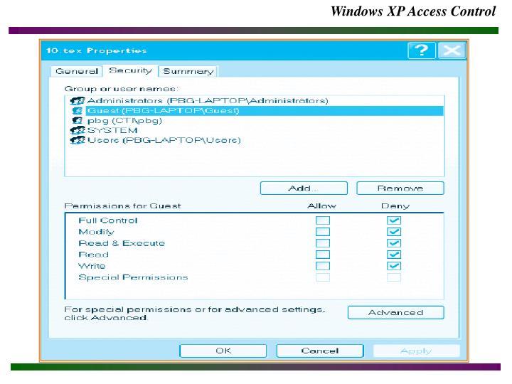 Windows XP Access Control
