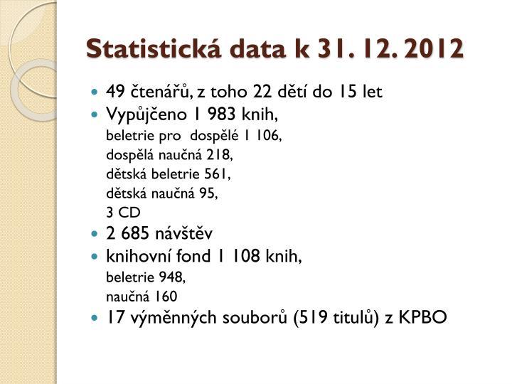 Statistická data k 31. 12. 2012