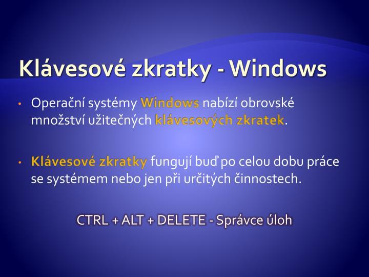 Klávesové zkratky - Windows